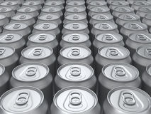Blank rendered cans top view background. Blank renderd cans background. Perspective view with studio lightning stock illustration