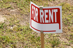 Blank for rent sign on post outside Stock Photography
