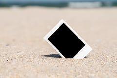 Blank Retro Instant Photo On Beach Stock Photo