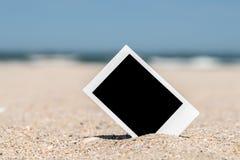 Blank Retro Instant Photo On Beach Royalty Free Stock Photo