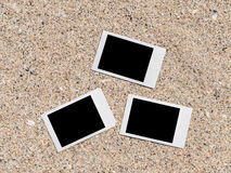 Blank Retro Instant Photos On Beach Royalty Free Stock Image