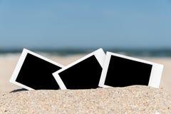 Blank Retro Instant Photos On Beach Stock Photography