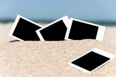 Blank Retro Instant Photos On Beach Royalty Free Stock Photo