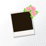 Blank retro photo frame on transparent texture background. Stock Photo