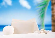 Blank retro photo on white sand beach, sky and seascape Stock Photography