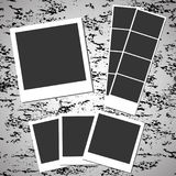 Blank retro photos on grunge background. Blank retro photos. Vector photography on grunge background. Photo frame with shadow Stock Photography