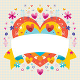 Blank ribbon with cute hearts Royalty Free Stock Photo