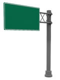 Blank road sign. 3d illustration of blank road sign isolated over white background Stock Photos