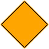 Blank Road Sign. Blank orange road sign for text or words - illustration Royalty Free Stock Photo