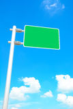 Blank road sign board on blue sky background Royalty Free Stock Images