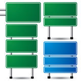 Blank road sign. Blank green and blue traffic road sign set on white background for your message.  illustration Royalty Free Stock Image