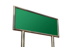 Blank Road Sign. Blank Green Road Sign Isolated on White Background royalty free stock image