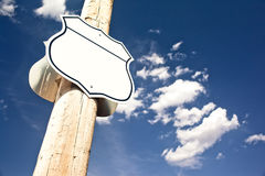 Blank road sign Interstate. Stock Photo