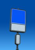 Blank road sign with a place for a picture or text. Blank and isolated road sign on a blue sky with a place for a picture or text. Clipping path included royalty free stock images