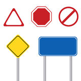 Blank road sign with pole Stock Images