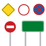 Blank road sign with pole Royalty Free Stock Photos