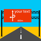 Blank road sign on the road.  Vector illustration. Blank road sign on the road.  Vector illustration Royalty Free Stock Images