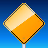 Blank road sign on sky Stock Photo