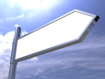 Blank road sign on sky. 3d Stock Image
