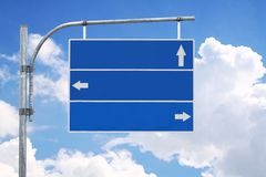 Blank road sign with three arrow. Stock Images