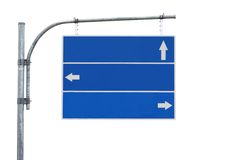 Blank road sign,three arrow isolated stock photography