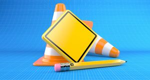 Blank road sign with traffic cone Royalty Free Stock Image