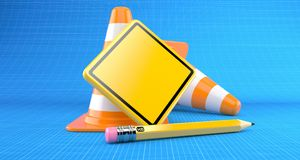 Blank road sign with traffic cone. On blueprint background Stock Photos
