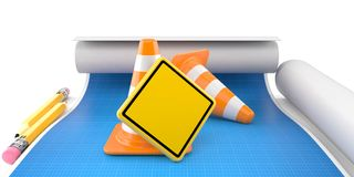 Blank road sign with traffic cones. On blueprint Stock Images