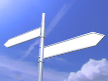 Blank road signs on blue sky. 3d Royalty Free Stock Photography