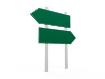 Blank Road Signs. Blank, green left and right arrow road sign template, isolated on white background Royalty Free Stock Photography