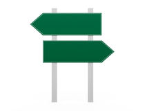 Blank Road Signs. Blank, green left and right arrow road sign template, isolated on white background Royalty Free Stock Images