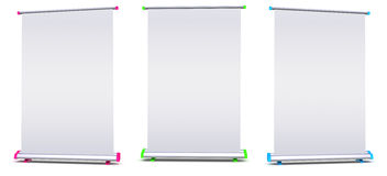 Blank roll-up banner display. On white background Royalty Free Stock Images
