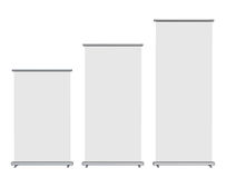 Blank roll-up banner display. Isolated with clipping path Stock Photos