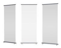 Blank roll-up banner display. Isolated with clipping path Royalty Free Stock Photo