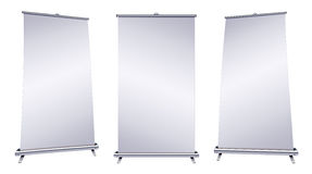 Blank roll-up banner. Display on white background Royalty Free Stock Photos