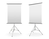 Blank roll up banner display. On white background Stock Image
