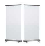 Blank roll up banner display Stock Photo