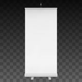 Blank Roll Up Banner Stand. Vector. Blank Roll Up Banner Expo Stands. Trade show booth white and blank. 3d vector illustration on  dark transparent background Stock Image