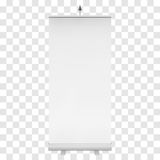Blank Roll Up Banner Stand. Vector. Blank Roll Up Banner Expo Stands. Trade show booth white and blank. 3d vector illustration on transparent background Royalty Free Stock Photography