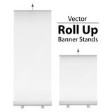 Blank Roll Up Banner Stand. Vector. Blank Roll Up Banner Stands. Trade show booth white and blank. 3d vector illustration  on white background. Template mockup Royalty Free Stock Images