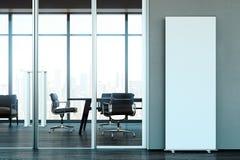 Blank roll up at bright modern office. business center. 3d rendering. vector illustration
