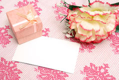 Blank Romance Notecard. A jewelry box on top of a blank notecard Stock Images
