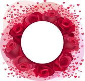 Blank romantic frame with roses and pink confetti Royalty Free Stock Images