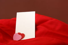 Blank Romantic Notecard. A blank notecard placed within a romantic scene Stock Photo