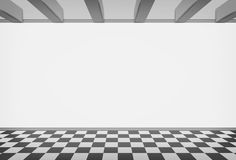 Blank room wall with checked paved floor Stock Photo