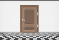 Blank room wall with closed door and checked paved floor Royalty Free Stock Images