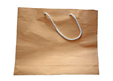 Blank rough brown paper bag isolated on white Stock Photos