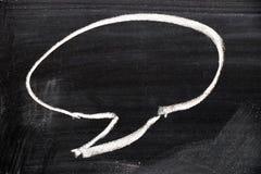 Blank round cartoon bubble speech draw by chalk on black board. Background royalty free stock photo