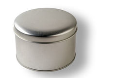 Blank round metal container with clipping path Stock Photo