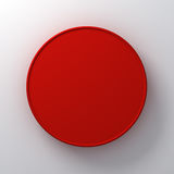 Blank round red signboard abstract on white wall background with shadow. 3D rendering Royalty Free Stock Photography